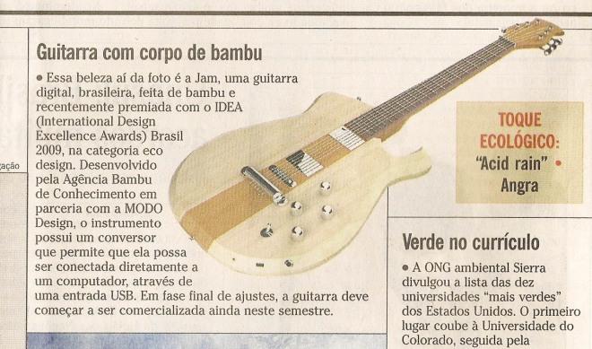 Matéria da Guitarra JAM n'O Globo