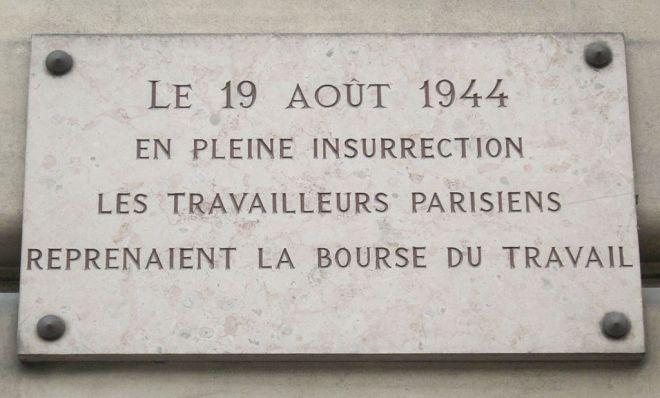 Placa comemorativa - Bolsa do Trabalho de Paris
