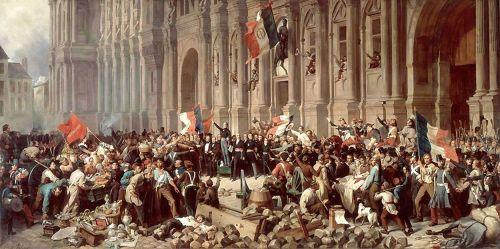 Lamartine na Prefeitura recusando a bandeira socialista - 1848